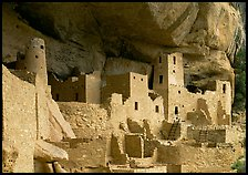 Ancestral pueblan dwellings in Cliff Palace. Mesa Verde National Park, Colorado, USA. (color)