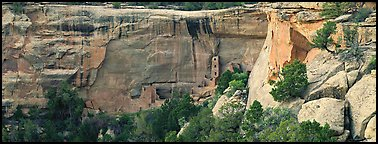 Cliffs and Ancestral pueblo ruin. Mesa Verde National Park (Panoramic color)