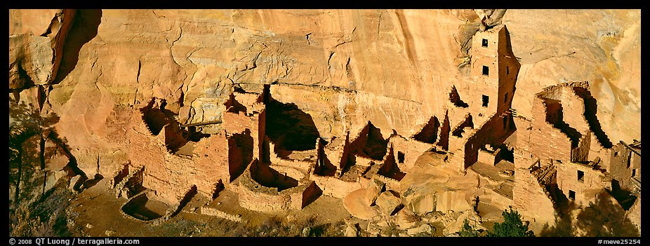 Panoramic Picture/Photo: Square Tower House, Tallest Ancestral Pueblo Ruin.  Mesa Verde National Park