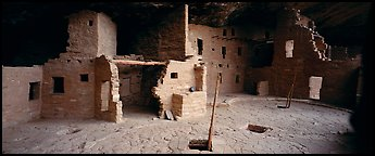 Spruce Tree House and Kiva entrances. Mesa Verde National Park (Panoramic color)