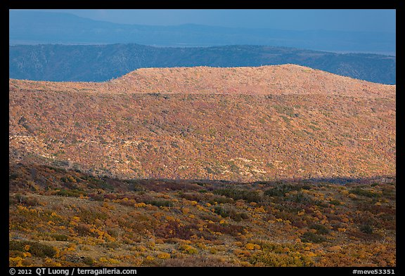 Layers of hills with autumn foliage. Mesa Verde National Park (color)