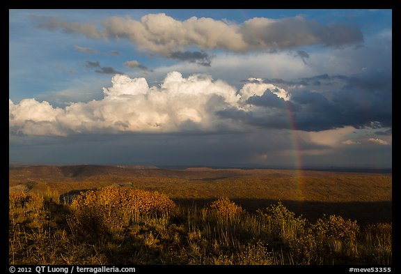 Rainbow and thunderstorm clouds over mesa. Mesa Verde National Park (color)