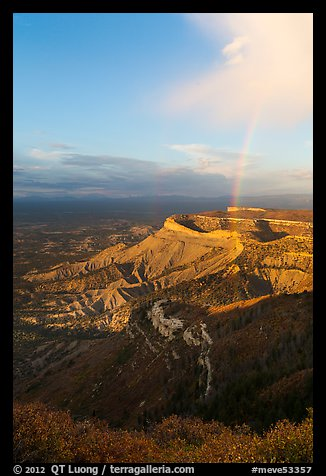 Rainbow and cliffs at sunset from Park Point. Mesa Verde National Park (color)