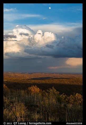 Moon, thunderstorm cloud over mesas at sunset. Mesa Verde National Park (color)