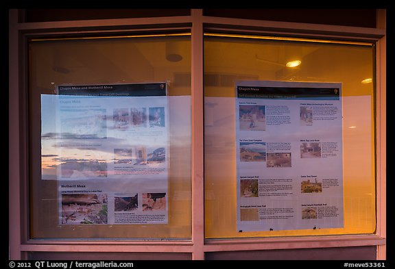 Sunset and attractions listings, Far View visitor center window reflexion. Mesa Verde National Park (color)