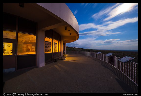Far View visitor center terrace by moonlight. Mesa Verde National Park (color)