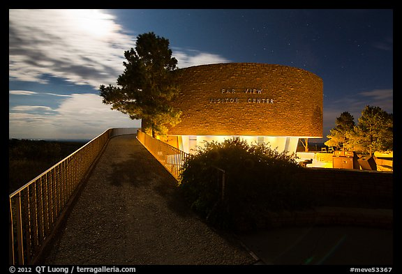 Far View visitor center entrance by moonlight. Mesa Verde National Park (color)