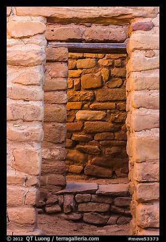 Aligned doors, Far View House. Mesa Verde National Park (color)