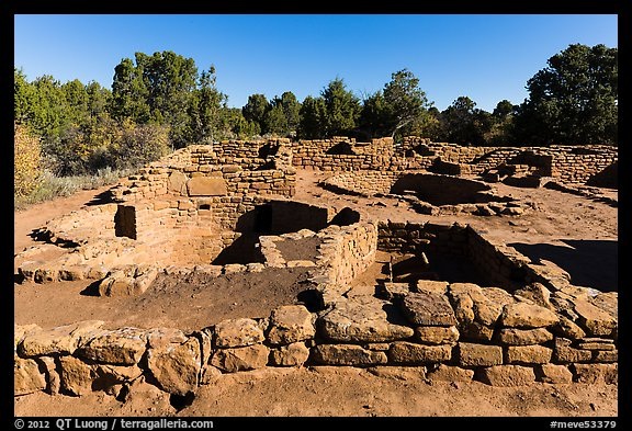 Ancestral Puebloan village with multiple rooms and kivas. Mesa Verde National Park (color)