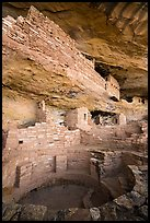 Kiva and structures built on ledge, Mug House. Mesa Verde National Park ( color)