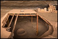 Reconstructed Basketmaker pithouse in Step House. Mesa Verde National Park ( color)