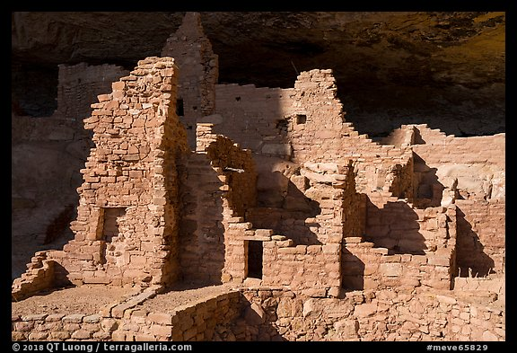 Original walls from Anasazi cliff dwelling. Mesa Verde National Park (color)