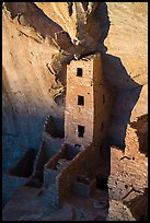 Tower of Square Tower House at sunset. Mesa Verde National Park ( color)