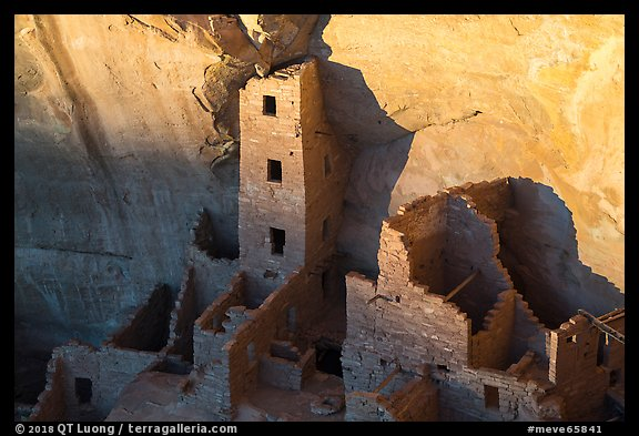 Last light on Tower of Square Tower House. Mesa Verde National Park (color)