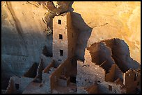Last light on Tower of Square Tower House. Mesa Verde National Park ( color)