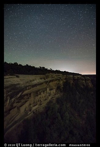 Night with stars above Cliff Palace. Mesa Verde National Park (color)