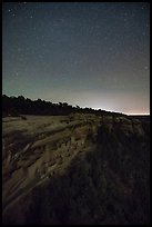 Night with stars above Cliff Palace. Mesa Verde National Park ( color)