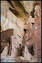 Structures built high on cliff, Square Tower House. Mesa Verde National Park ( color)
