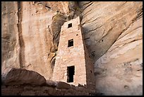 Cliff and three story tower from below, Square Tower House. Mesa Verde National Park ( color)