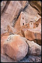 Looking up Square Tower House and cliff. Mesa Verde National Park ( color)