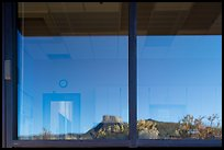 Park Point, Visitor Center and Research Center window reflexion. Mesa Verde National Park ( color)