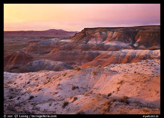 Badlands at sunset, Painted Desert. Petrified Forest National Park (color)