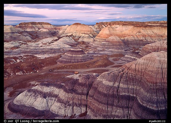 Blue Mesa basin at dusk. Petrified Forest National Park (color)