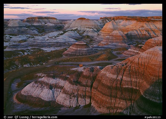 Blue Mesa basin at sunset. Petrified Forest National Park (color)