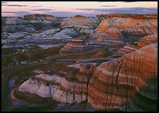 Blue Mesa basin at sunset. Petrified Forest National Park, Arizona, USA.