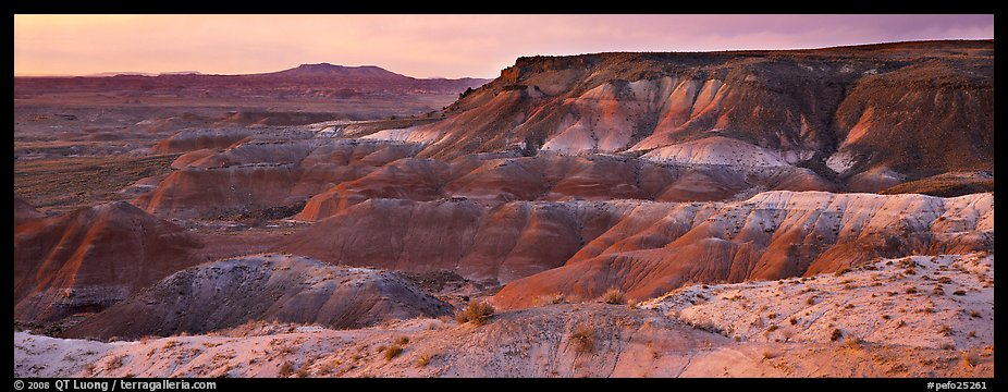 Painted Desert badlands at sunset. Petrified Forest National Park (color)
