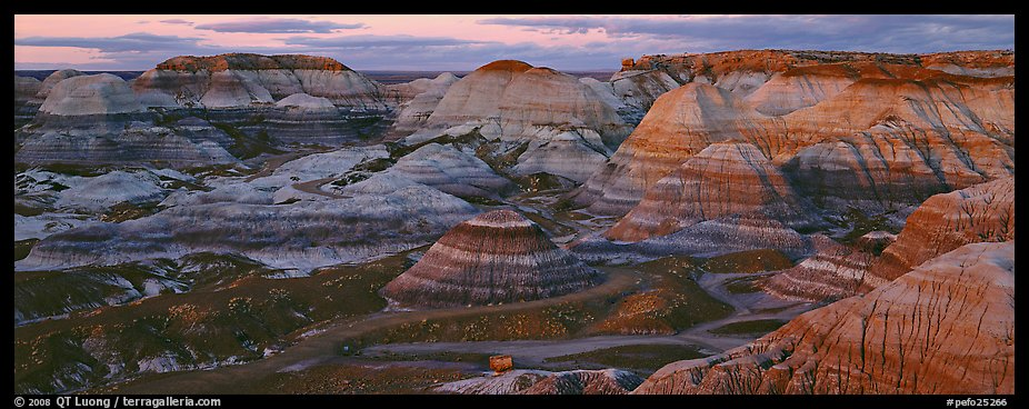 Badland scenery at dusk, Blue Mesa. Petrified Forest National Park (color)