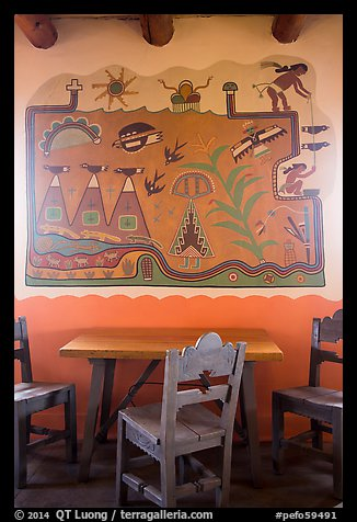 Murals on dining room by Hopi artist Fred Kabotie, Painted Desert Inn. Petrified Forest National Park (color)