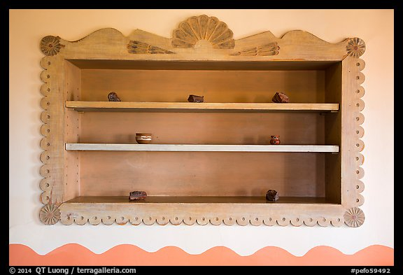 Shelf on dining room with American Indian designs, Painted Desert Inn. Petrified Forest National Park (color)