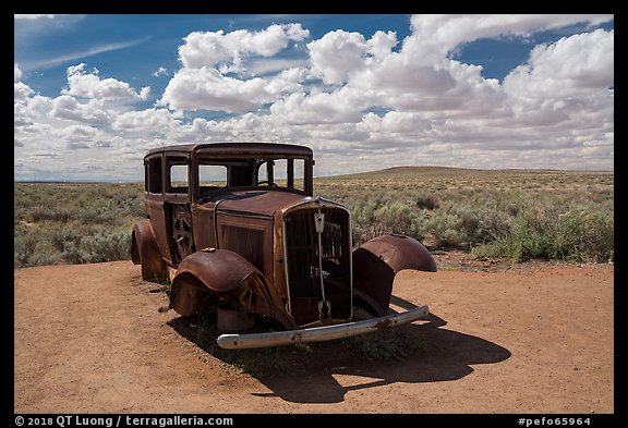 1932 Studebaker on historic Route 66. Petrified Forest National Park (color)