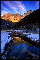 Pine Creek and Towers of the Virgin, sunrise. Zion National Park, Utah, USA.