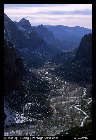 Zion Canyon from  summit of Angel's landing, mid-day. Zion National Park (color)
