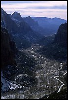 Zion Canyon from  summit of Angel's landing, mid-day. Zion National Park, Utah, USA.