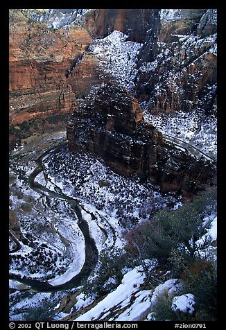 Virgin river and Canyon walls from the summit of Angel's landing in winter. Zion National Park (color)