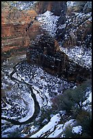 Virgin river and Canyon walls from the summit of Angel's landing in winter. Zion National Park, Utah, USA. (color)