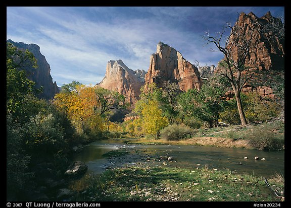 Court of the Patriarchs, Virgin River, and trees in fall color. Zion National Park (color)