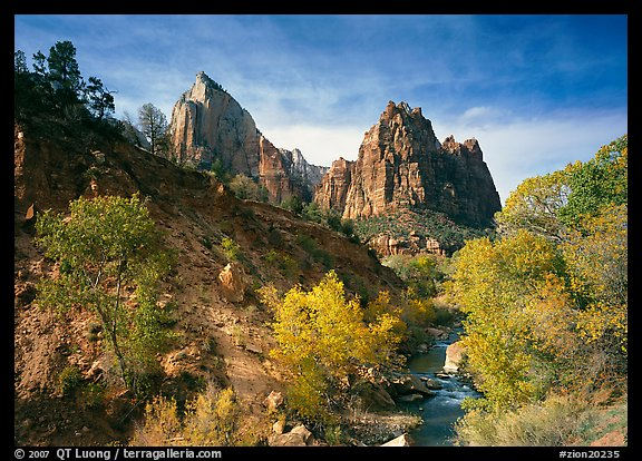 Court of the Patriarchs and Virgin River, afternoon. Zion National Park (color)