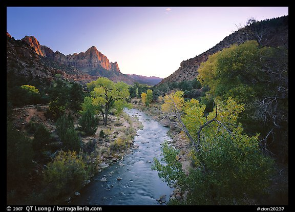 Virgin River and Watchman catching last sunrays of the day. Zion National Park (color)