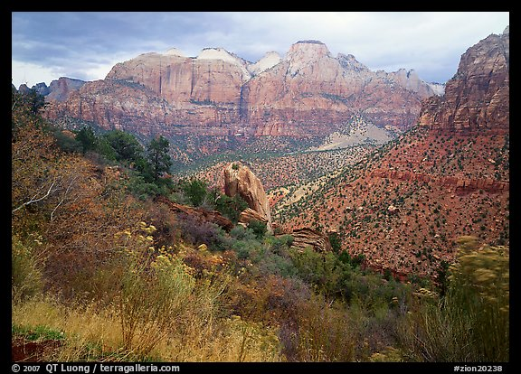 Towers of the Virgin in rainy weather. Zion National Park (color)