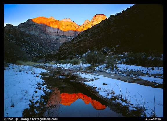 Snowy Pine Creek and Towers of the Virgin, sunrise. Zion National Park (color)