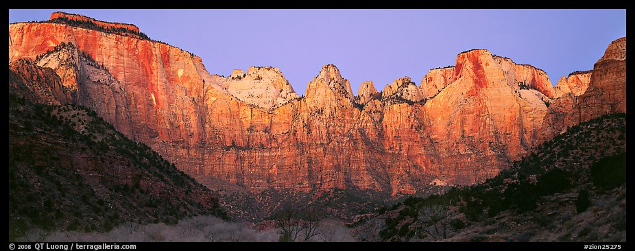 Towers of the Virgin cliffs at dawn. Zion National Park (color)