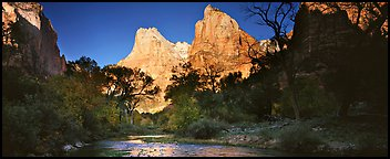 Court of the Patriarchs and Virgin River. Zion National Park (Panoramic color)