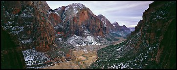 Zion Canyon delimited by tall limestone walls. Zion National Park (Panoramic color)