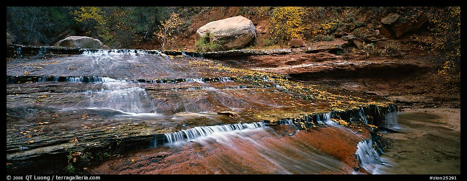 Red travertine terraces with cascades. Zion National Park (color)