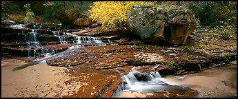 North Creek cascading over terraces in autumn. Zion National Park (Panoramic color)