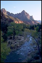 Virgin River and Watchman, sunset. Zion National Park, Utah, USA.